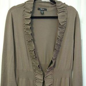Long Ruffled sweater cardigan Large